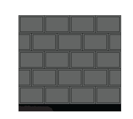 Lukket sort støttemur