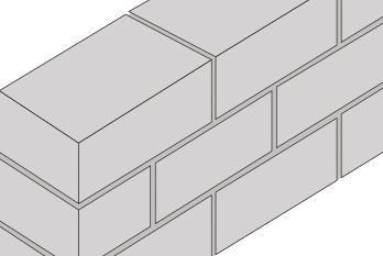 Væg af lecablokke med halvforbandt