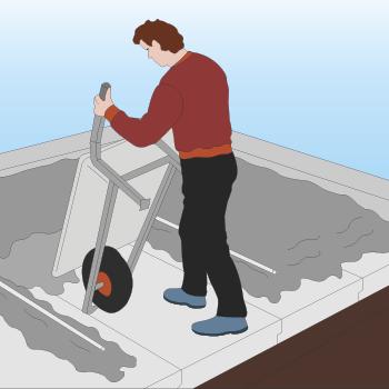 Der køres ca. 1 meter beton på gulvet og så afrettes der inden der køres mere beton på