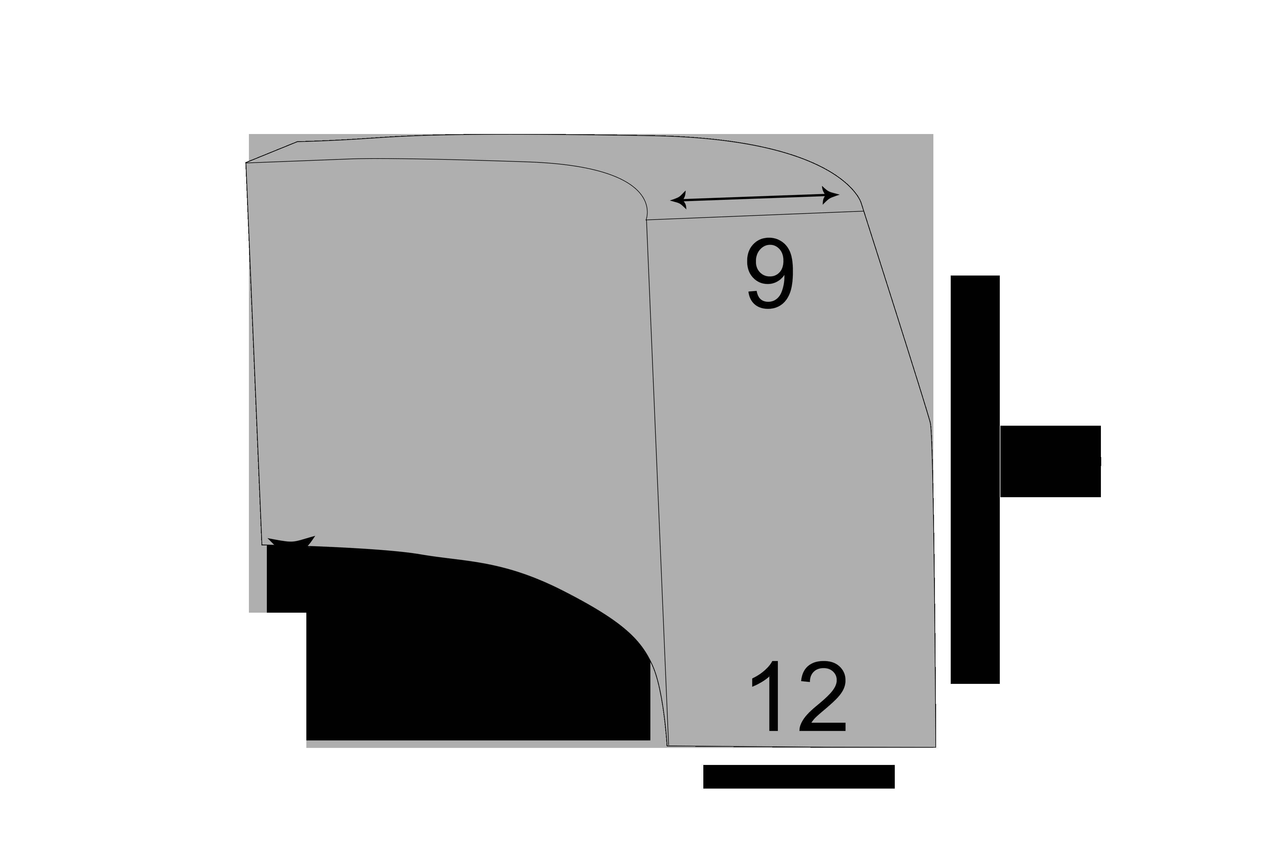 Radiuskantsten 9x12x30