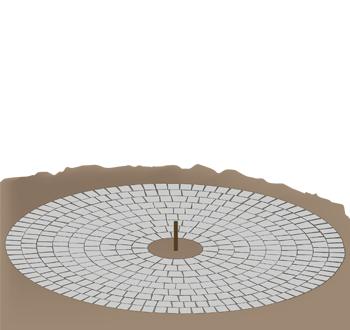Cirkelformet belægning