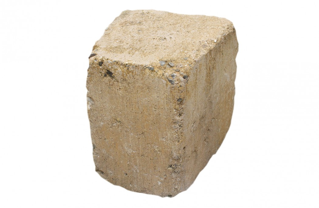 Image of   Gul Cirkelblok, stor m/slået kant 14 x 15/11 x 14